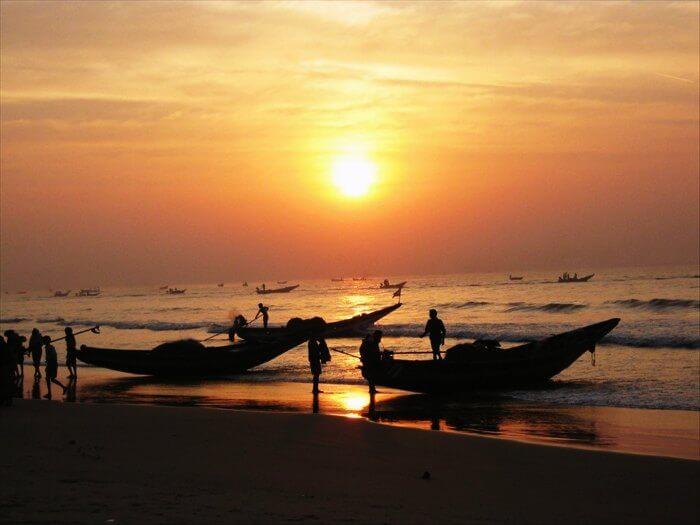 Sunset at the Puri Beach in Orissa