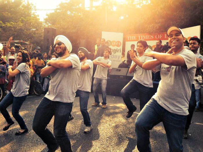 People dancing on Rahgiri day in CP