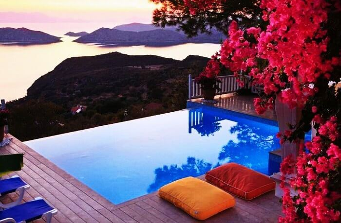 An Exotic View From The Infinity Pool Of A Romantic Resort In Turkey
