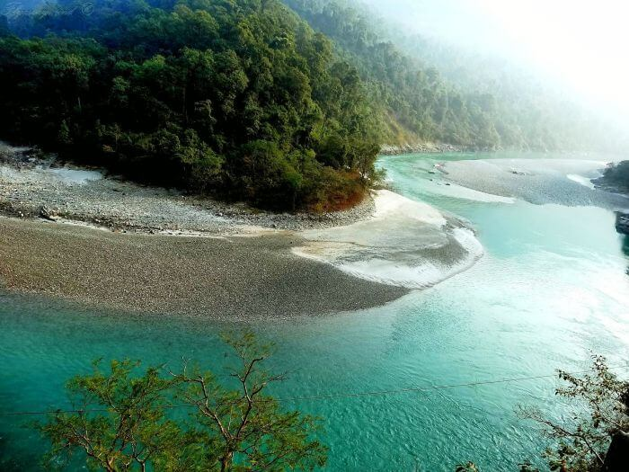 Shimmering summer view of the Teesta river