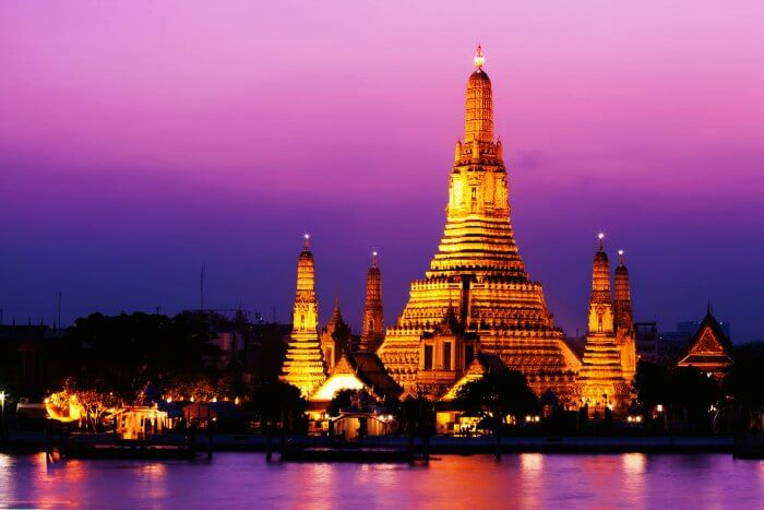 Wat Arun in Thailand during night is one of the best tourist attractions in Thailand