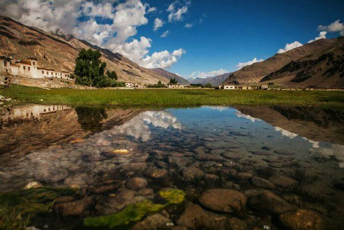 Reflection of the sky in an alpine lake of the Zanskar valley in Ladakh