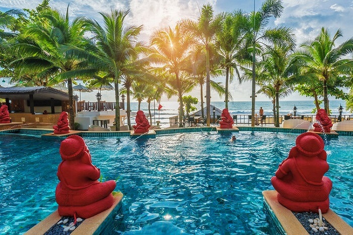 A shot of the swimming pool at the Andaman White Beach Resort in Phuket