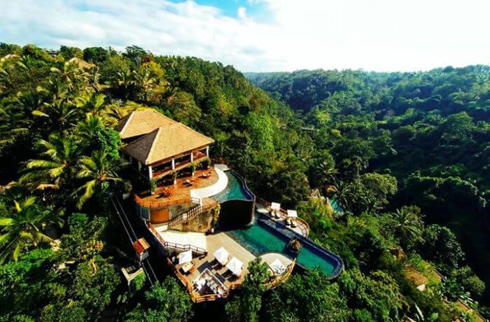 Aerial view of Hanging Gardens Ubud in Payangan