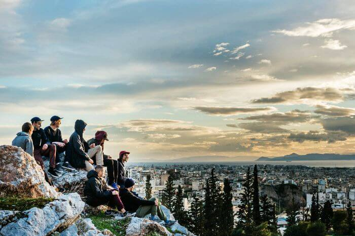 Backpackers in Athens