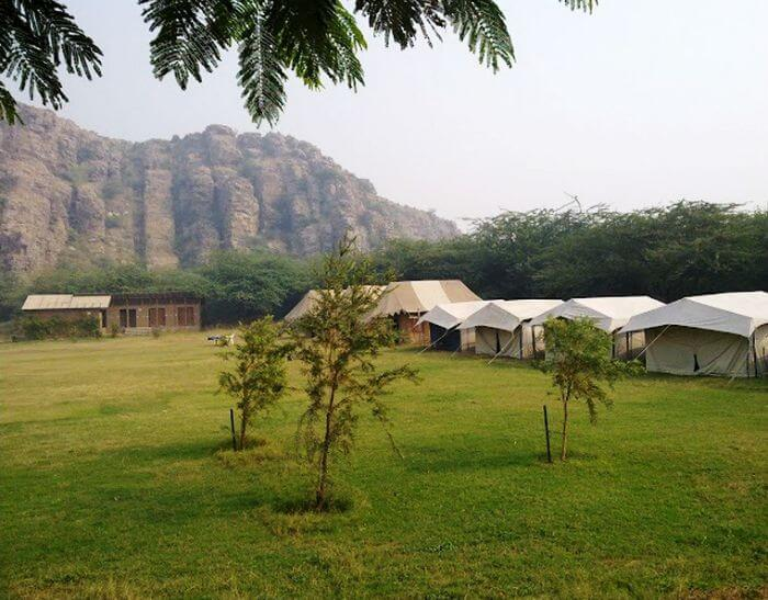Dhauj is the nearest site for camping around Delhi