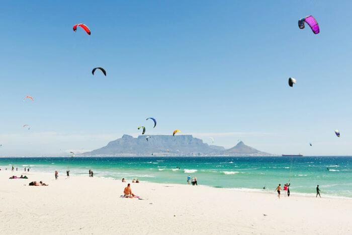 Paragliding at the Cape Town beach in South Africa