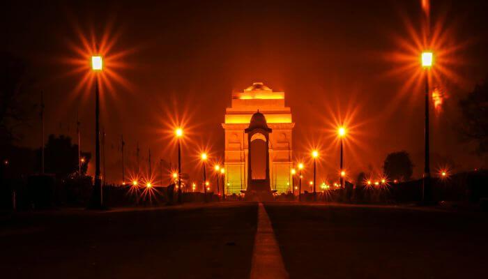 Illuminated India Gate on Raj Path