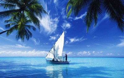 A sailboat in the Andaman Island