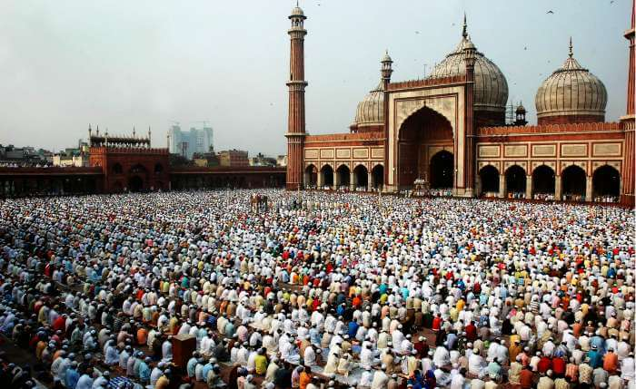Devotees bow to their God on Eid at the largest mosque in India.