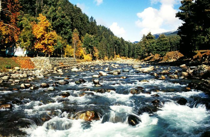 The flowing Lidder river in Pahalgam