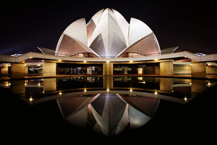 A rare night view of illuminated Lotus Temple