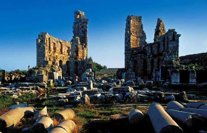 Perge is a place to see in Antalya which has both Greek and Roman influence to it