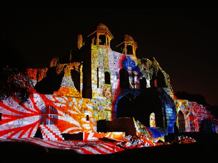 Old Fort transforms into a live screen during the sound and light show.