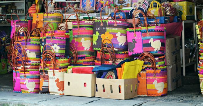 Crafty bags displayed at Port Louis Market