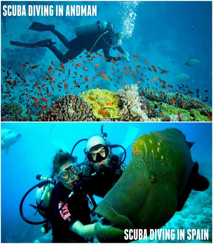 Scuba diving in andman and spain