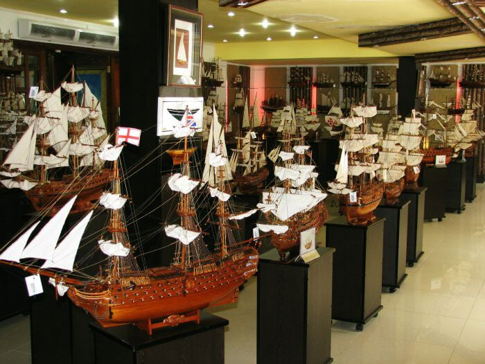 Wooden model ships displayed at the Ship Model Factory at Curepipe