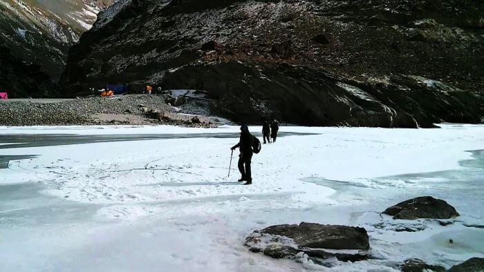 The trekkers leave from Tilat Sumdo base camp on their trek