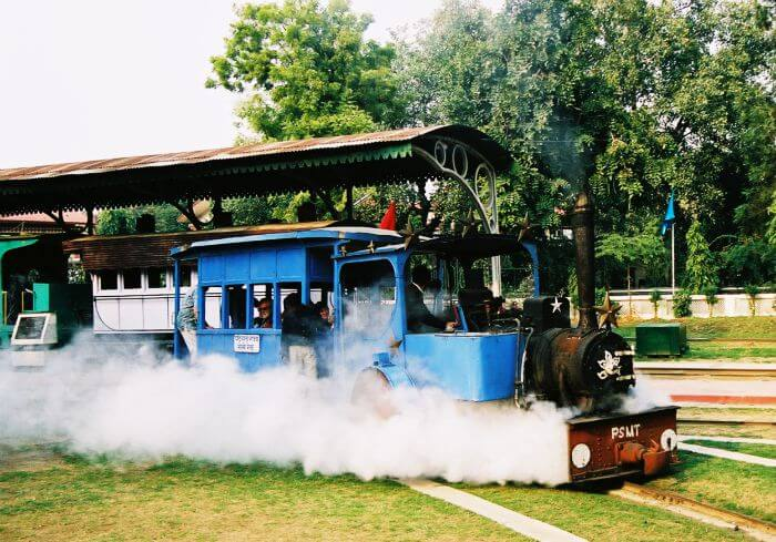 A toy train ride in Delhi