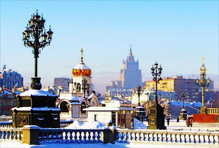 Snow covered Moscow in winters