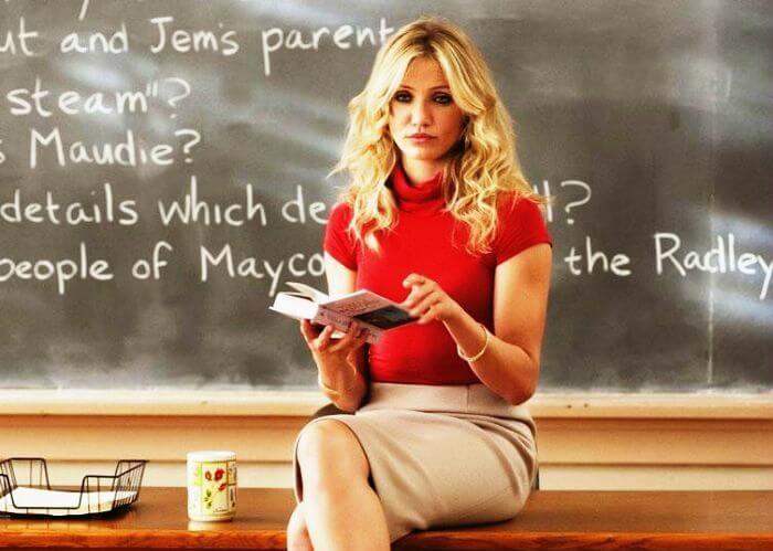 Cameron Diaz in Bad Teacher is an English teacher