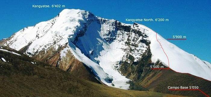 The two trek routes of the Kang Yatse and Dzo Jango trek
