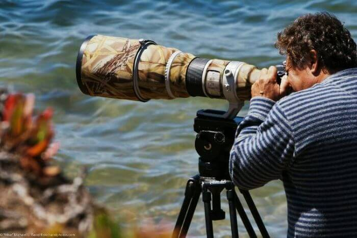A professional photographer busy clicking pictures of nature as he travels