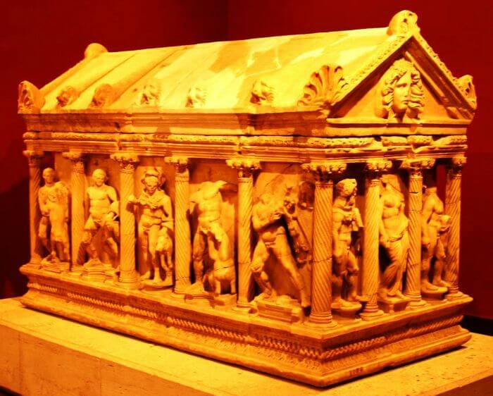 Ancient sarcophagi at the Antalya Archaeology Museum