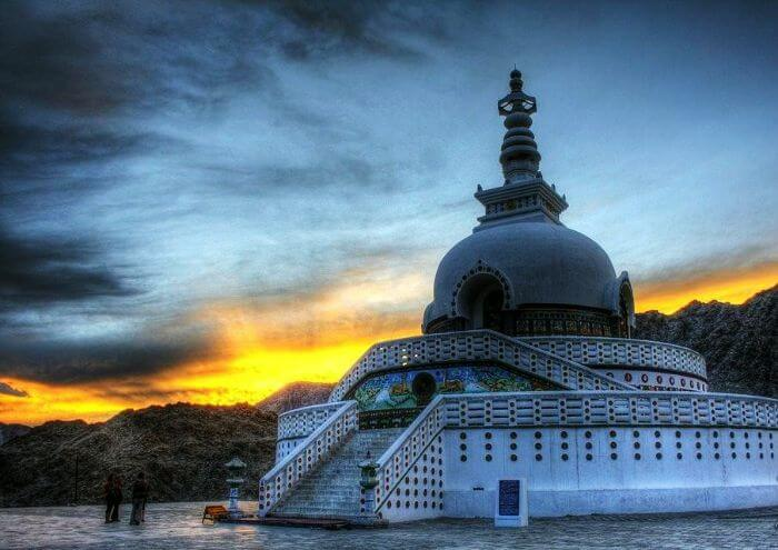 Beautiful sunset at the Shanti Stupa