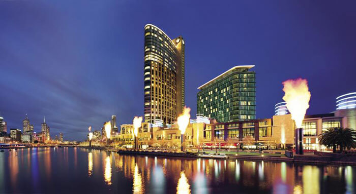 A well lit night view of Crown Towers- the best resort in Australia