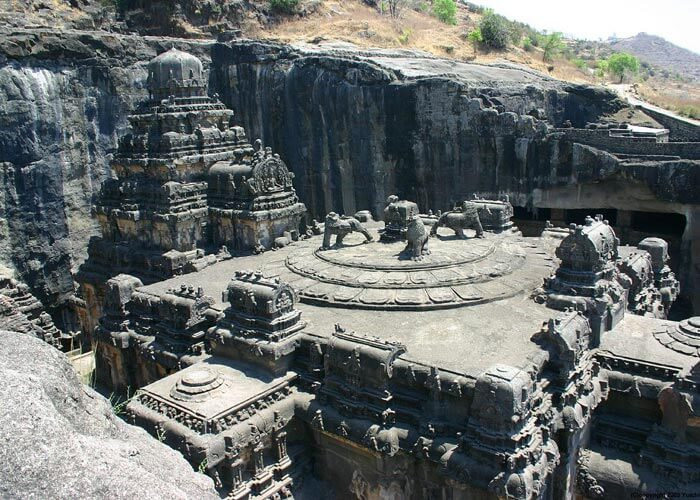 The caves at Ellora situated 32 km from Aurangabad