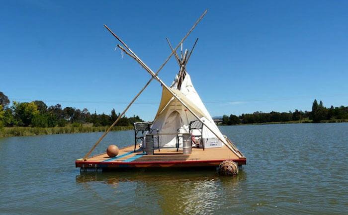Floating teepee on a raft