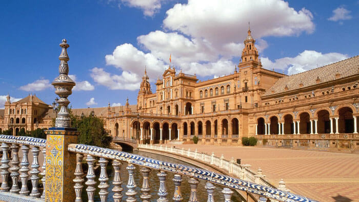 Elegant architecture of plaza de espana seville Spain