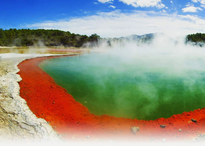 The dramatic beauty of Rotorua with lava lines and steaming water