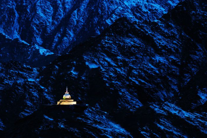 Shanti Stupa on a moonlit night