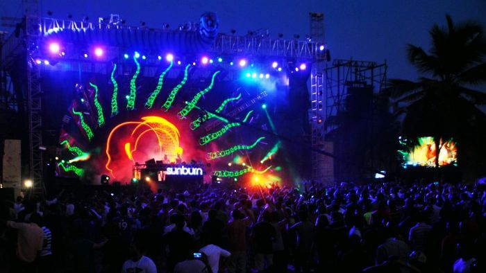 Music lovers enjoying the Sunburn - the best & the biggest music festival in Goa
