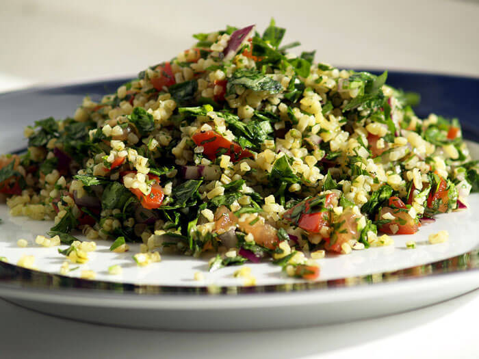 A vegetarian delight. Tabbouleh is a fresh salad with a touch of lime.