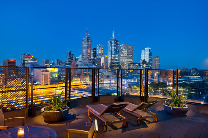 View of the skyline from the terrace room of The Langham Hotel