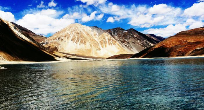 The turquoise aquamarine Pangong Lake