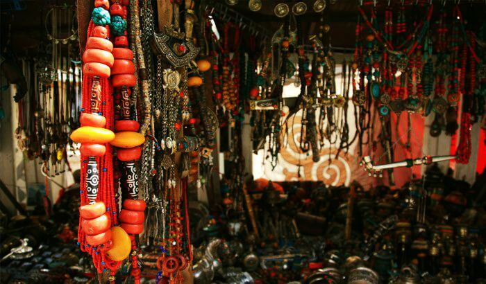 Colorful curios at display in a shop in Leh market