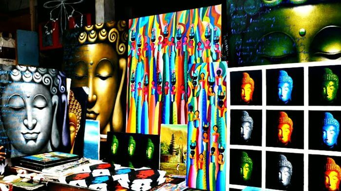 Colorful displays at Ubud Art Market