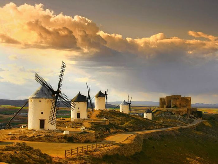 A stunning view of the windmills in Consuegra
