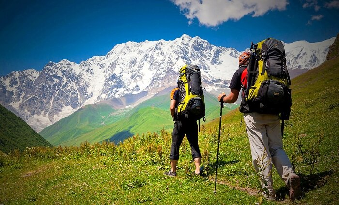 Hikers in the hills of Manali