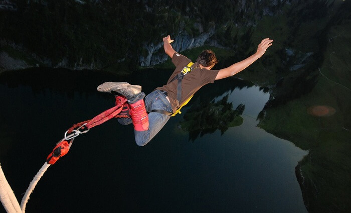 A person tries bungee jumping at Rishikesh