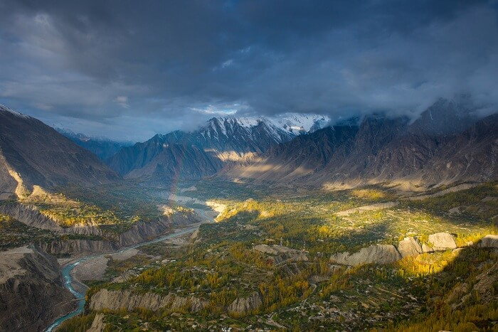 A view of the Hunza Valley in Pakistan with clouded skies
