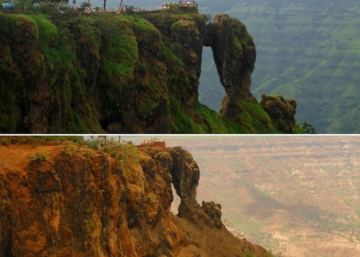 Two different views of the needle point in Mahabaleshwar