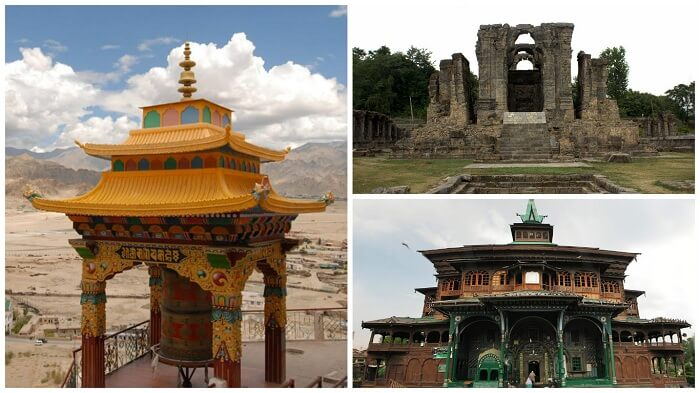 A collage of a Buddhist shrine, a temple, and a mosque in clockwise order