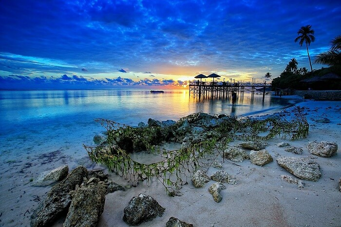 A beautiful sunrise at Wakatobi beach in Indonesia