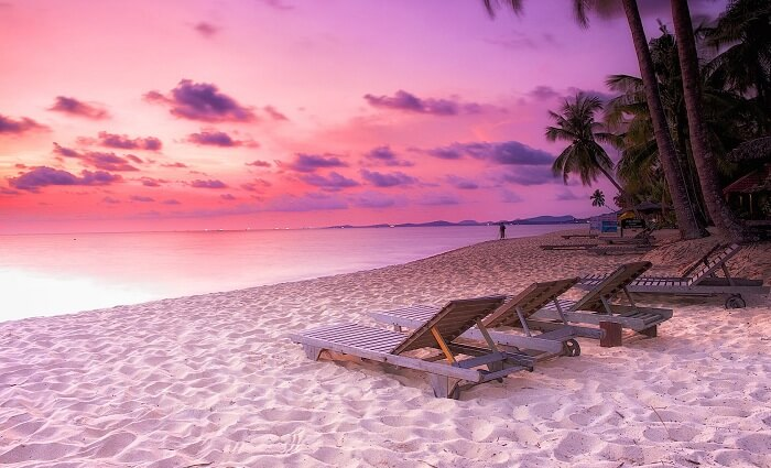 A beautiful sunset at the Phu Quoc beach in Vietnam