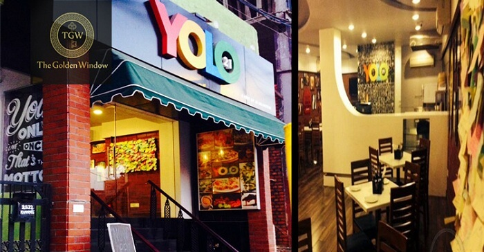 The interiors and entrance of the YOLO 21 restaurant at Hudson Lane